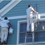 Painters painting exterior of house near Raleigh NC